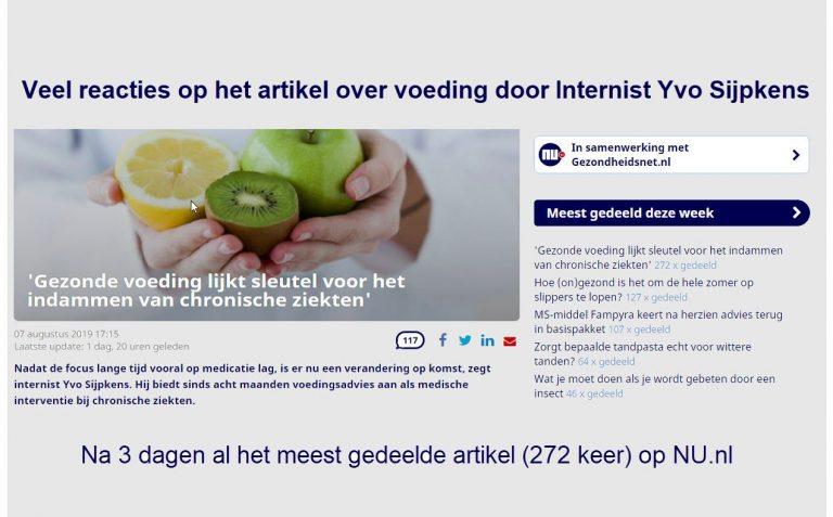 Veel reacties op het artikel over voeding door Internist Yvo Sijpkens