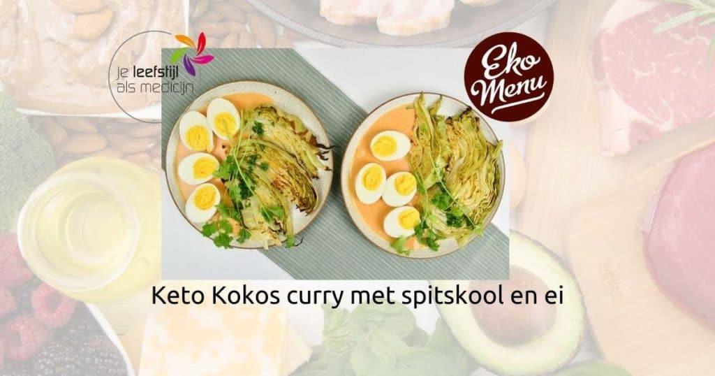 Keto Kokos curry met spitskool en ei